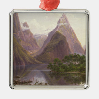 Native figures in a canoe at Milford Sound Square Metal Christmas Ornament