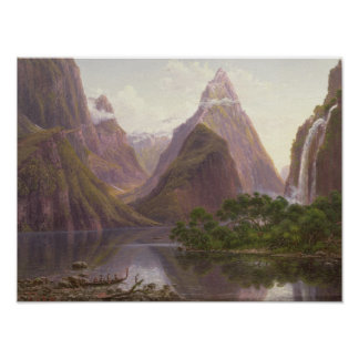 Native figures in a canoe at Milford Sound Poster