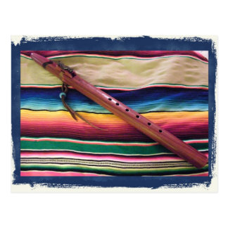 Native Flute and Serape Postcard