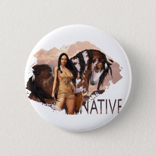 Native Girl Dakotah Button
