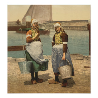 Native girls of Marken Island, Holland Poster