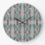 Native Gray Taupe Brown Turquoise Blue Green Art Large Clock