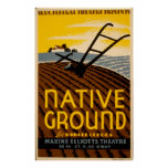 Native Ground Farmhouse 1936 WPA Vintage Theatre Poster