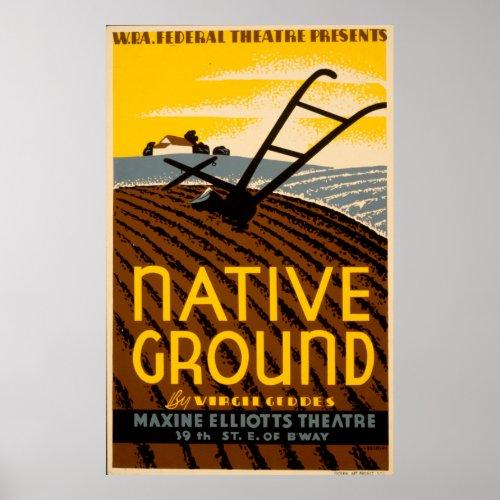 Native Ground Farmhouse 1936 WPA Vintage Theatre