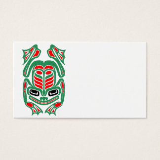 Native Haida Art Red and Green Frog - white Business Card
