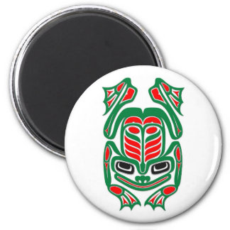 Native Haida Art Red and Green Frog - white Magnet
