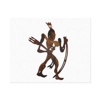 native holding bow wood cutout canvas print