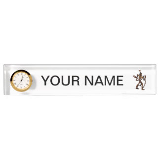 native holding bow wood cutout nameplate