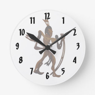 native holding bow wood cutout round clock