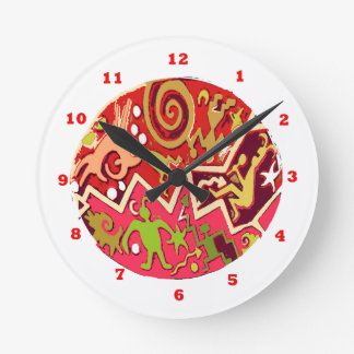 NATIVE Indian Art : Vintage Cave Style Round Wallclock