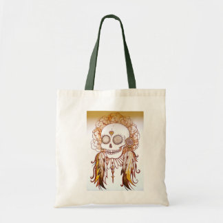 native indian skull feathers flowers beach bag