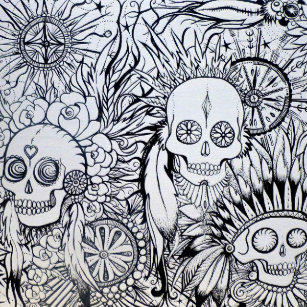 Native Indian Tile Tattoo Skull Style Art