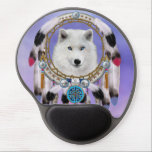 "Native Indian Wolf Spirit Gel Mouse Pad<br><div class=""desc"">The spirit of the blue-eyed snow wolf appears in the dream catcher -  symbolizing hope,  faith,  love,  and passion for all who follow their dreams.</div>"