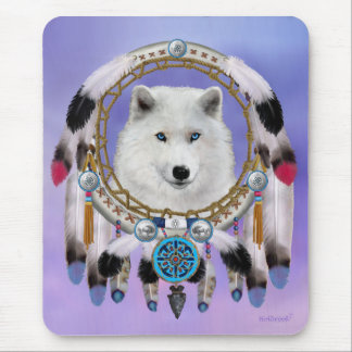 Native Indian Wolf Spirit Mouse Pad