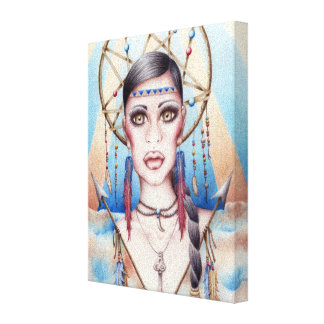 Native Indian Woman Dreamcatcher Drawing Canvas Print