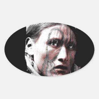 Native Man Standing Bear Oval Sticker