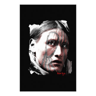 Native Man Standing Bear Stationery Design
