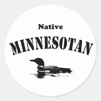 Native Minnesotan Classic Round Sticker