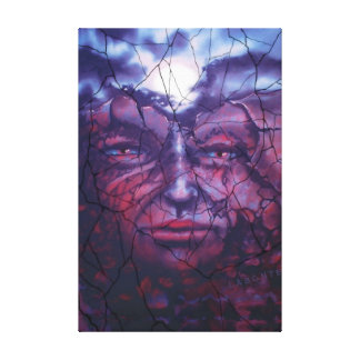 Native Moon By Victoria BC artist Mario Labonte Stretched Canvas Prints