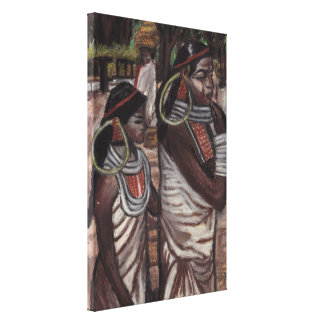 NATIVE MOTHER AND DAUGHTER  canvas Stretched Canvas Print