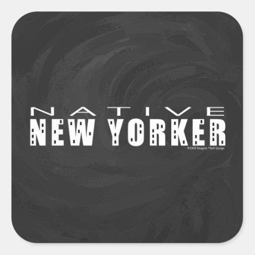 Native New Yorker black Square Stickers