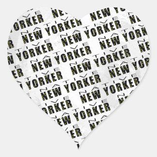 Native New Yorker Pattern Heart Sticker