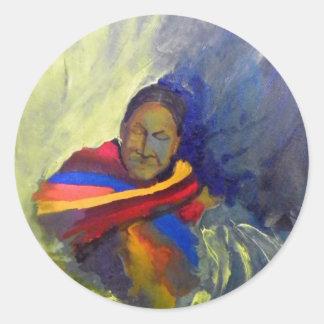 native-painting classic round sticker