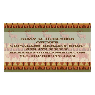 native pattern buffalo deer indigenous decoration Double-Sided standard business cards (Pack of 100)