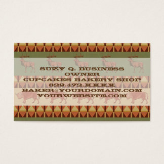 native pattern buffalo deer indigenous decoration business card
