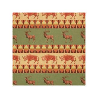 native pattern buffalo deer indigenous decoration canvas print