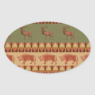 native pattern buffalo deer indigenous decoration oval sticker