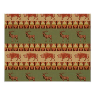 native pattern buffalo deer indigenous decoration poster