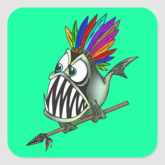 Native Piranha Square Sticker