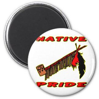 Native Pride Tobacco Peace Pipe 2 Inch Round Magnet