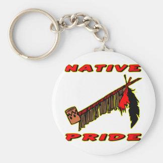 Native Pride Tobacco Peace Pipe Basic Round Button Keychain
