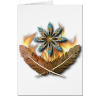 native red tailed hawk feathers and flames digital greeting card
