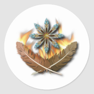 native red tailed hawk feathers and flames digital classic round sticker