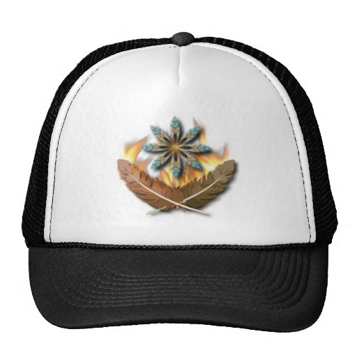 native red tailed hawk feathers and flames digital trucker hat