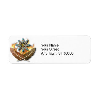 native red tailed hawk feathers and flames digital label