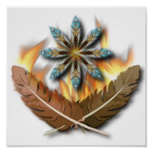 native red tailed hawk feathers and flames digital poster
