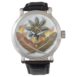 native red tailed hawk feathers and flames watches