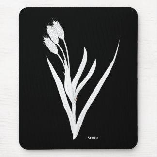 Native Sedge Prairie Grass in White on Black Mouse Pad