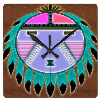 Native Shield 1 Native American Decor Square Wall Clock