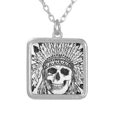 Native skull face art silver plated necklace