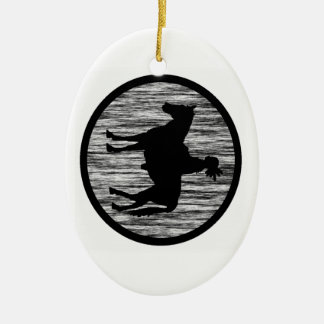 NATIVE SPIRITS AROUND Double-Sided OVAL CERAMIC CHRISTMAS ORNAMENT