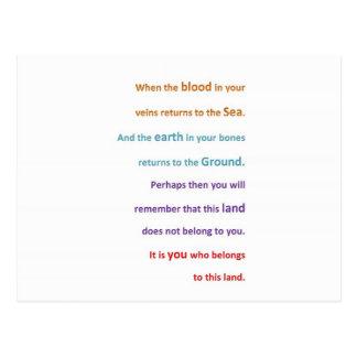NATIVE Spiritual Wisdom - You belong to the LAND Postcard