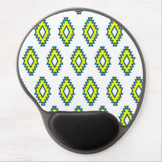 Native squares yellow navy blue white pattern gel mousepads