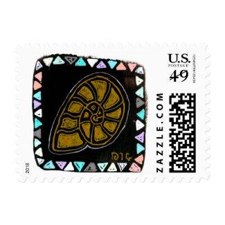 Native style artsy snail postal stamp