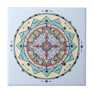 Native Symbols Mandala Ceramic Tile