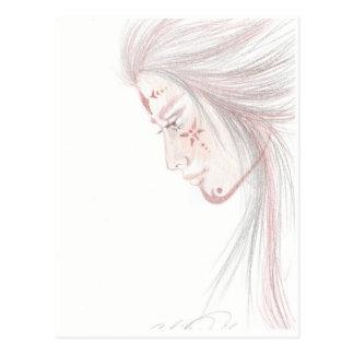 native tattoed woman post card